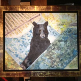 Bear in Hammock, set in distressed-gold frame