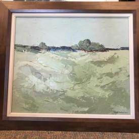 Artist: Newton Terry; Mid 50's landscape, original impasto landscape in wooden frame