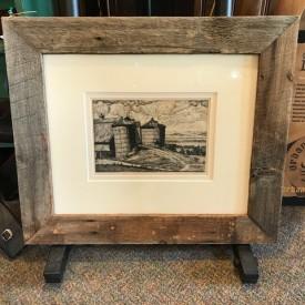 Luigi Lucioni: etching of silos; silk mat in authentic barnwood frame