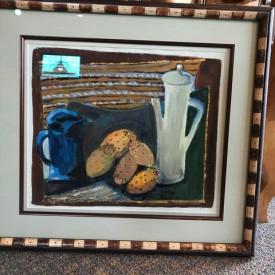Mid-century prickly pear still life; original goache in custom frame