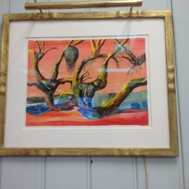 Surrealist Trees in gilt frame