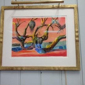 Surrealist Trees in gilt frame
