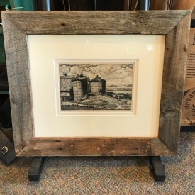 Luigi Lucioni: etching of silos; silk mat in authentic barnwood frame