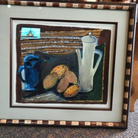 Mid-century prickly pear still life; original goache in custom frame