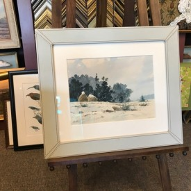 Original watercolor of haystacks in Peruvian leather frame