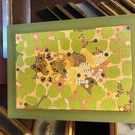 Not for sale – green acrylic floater frame around original aboriginal artwork